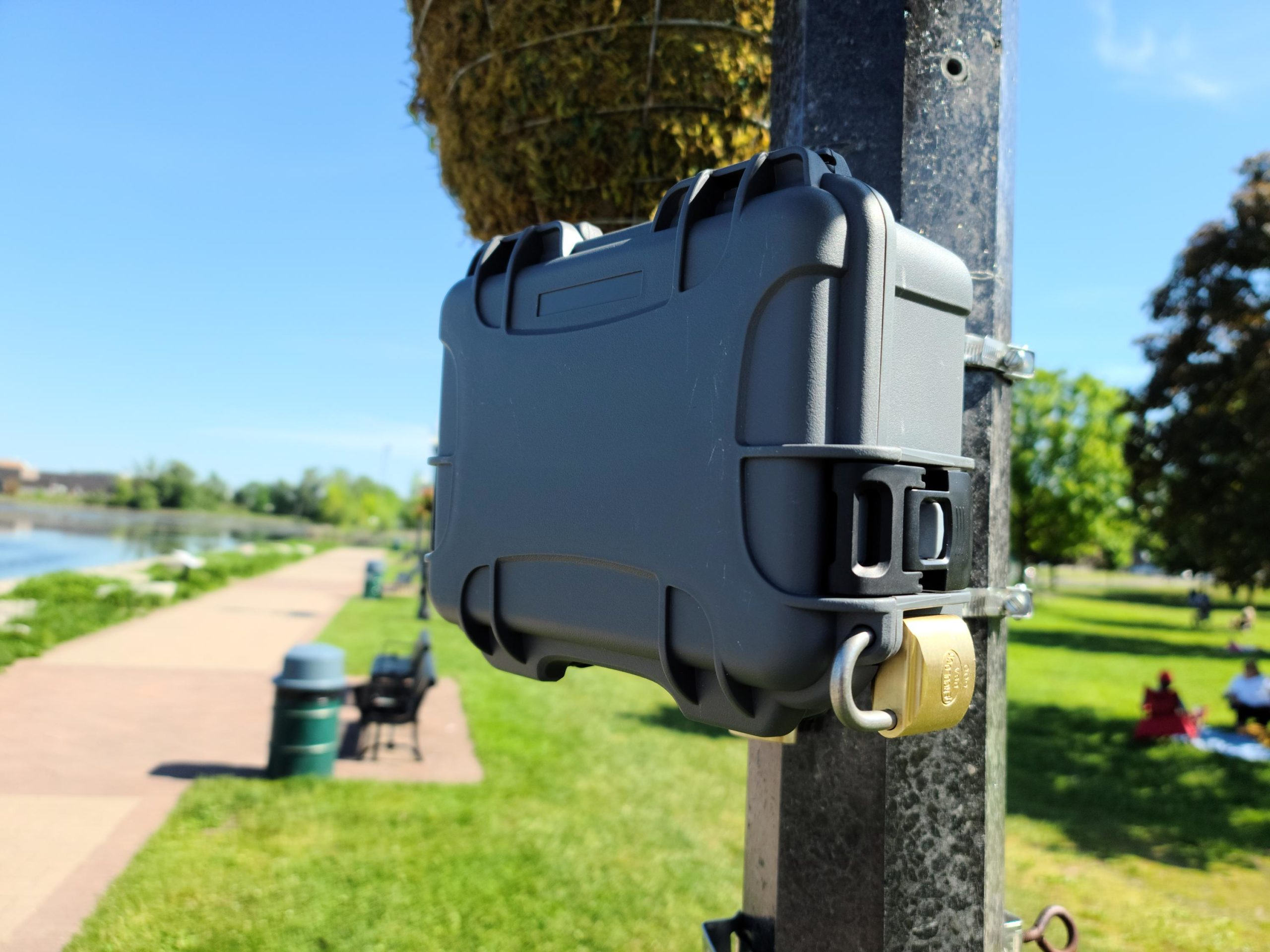 Otter radar secured and locked to utility pole on Old Simcoe Rd., Port Perry, Ontario
